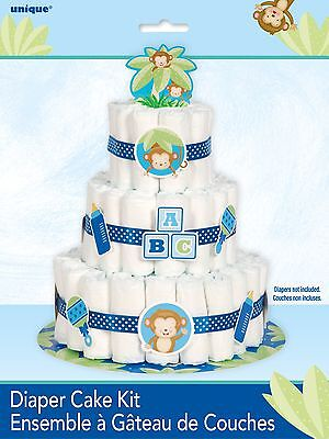 Boy Monkey Baby Shower Party Diaper Cake Kit Decorations (Diapers not included)