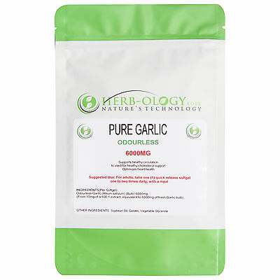 Pure Garlic 6000mg Odourless x 30, 60 or 90 Softgels Herb-ology