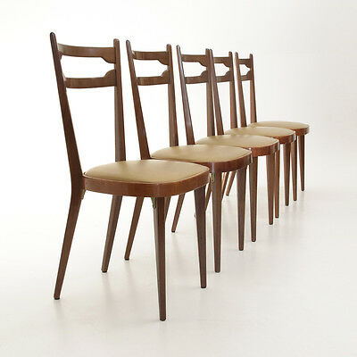 cinque sedie in legno anni '50 Paolo Buffa style, dining chair, mid century
