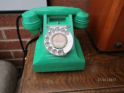 Gpo Jade Green  300 Series Telephone Recoloured & Reconditioned Working