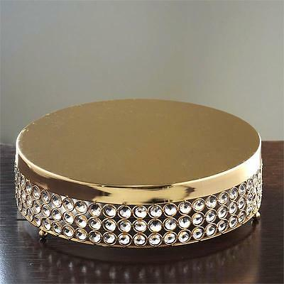 "GOLD METAL 13.5"" wide Cake Stand with Crystal Beads Party Wedding Reception"