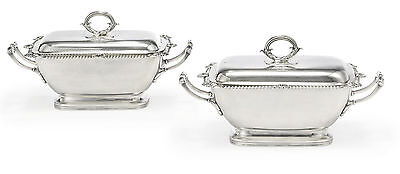 Pair of Silver Sauce Tureens in King George III Style