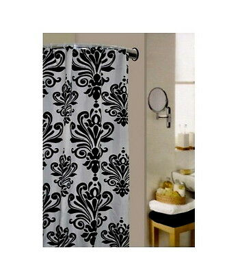 Bathroom Shower Curtains Water Repellent With 12 Rings Black White Modern Design