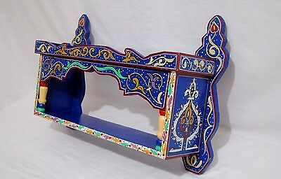 "Wall Shelf Vintage Reproduction Handmade Moroccan Wood craft 24,40""H 7,48""W"