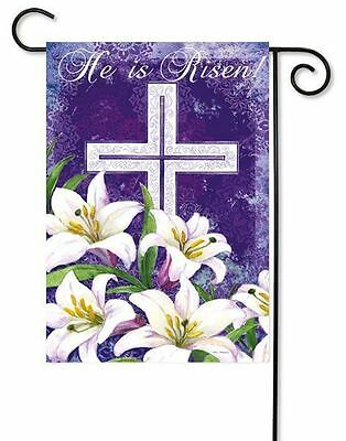 """Easter Cross and Lilies """"He is Risen"""" Small Easter Garden Flag by Evergreen"""