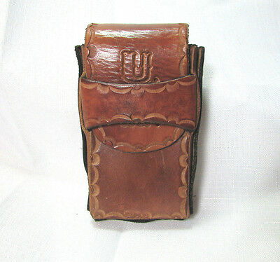 Vintage Hard Tooled Leather Cigarette Case With Initials U.H.