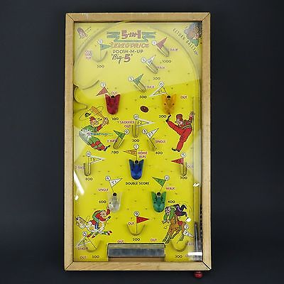 "Vintage ""Poosh-M-Up"" 5 in 1 Electric Lighted Table Top Pinball Game"