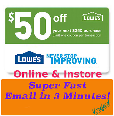 photograph regarding Lowes 50 Off 250 Printable Coupon titled (1X) LOWES $50 Off $250 Printable-Discount coupons Instant Electronic mail Transport - Exp 04/25/17