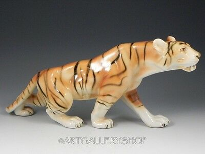"Vintage Royal Dux Czech Porcelain 14"" LONG LARGE BENGAL TIGER FIGURINE #312 Mint"