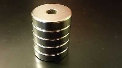 5 x Round Ring Magnets 20mm*5mm Counter Sunk Hole 5mm Rare Earth Neodymium N50