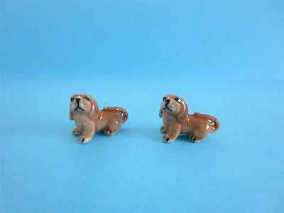 New Super Mini (Miniature) Two Lovely Baby Dachshund Figurines With Nice Box
