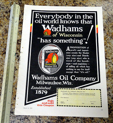 Wadhams Oil Company Motor Oil Color Magazine Ad - 113 - FREE SHIPPING