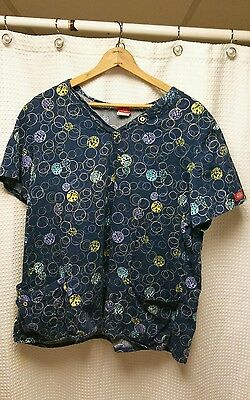 Women's Size 2XL Dickies Print Cotton Scrub Top - Blue