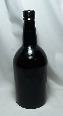ANTIQUE DUTCH BLACK GLASS PONTIL – HAND BLOWN ALE or WINE BOTTLE