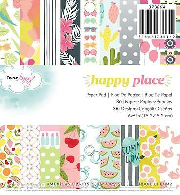 Dear Lizzy HAPPY PLACE 6x6 Paper Pad American Crafts Planner Pocket Page