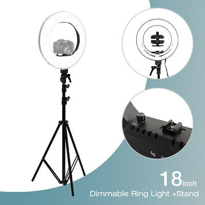 "18"" Continuous Lighting Photo Video Studio Photography Diva Ring Light Stand"
