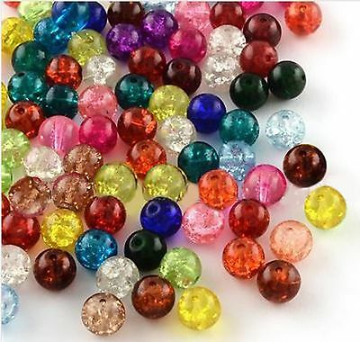200 CRACKLE GLASS BEADS 6mm MIXED COLOURS FOR JEWELLERY MAKING AND CRAFTS B13