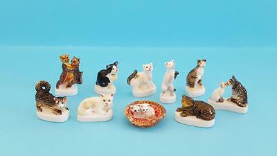 Amazing Miniature Porcelain `our Friends The Cats` Collection Set 10 Figurines