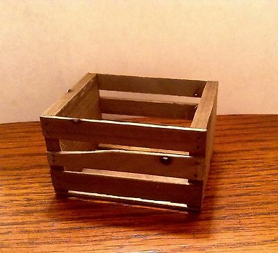 """1:6 Scale Rustic Wood Fruit Crate Handcrafted Miniature 2-5/8"""" x 2-1/8"""""""