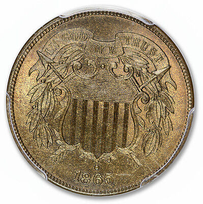 1865 2C Two Cent Piece PCGS MS66+RB (CAC)