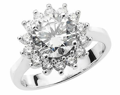 925 Sterling Silver Solid Ladies Large Cubic Zirconia Cluster Ring Various Sizes