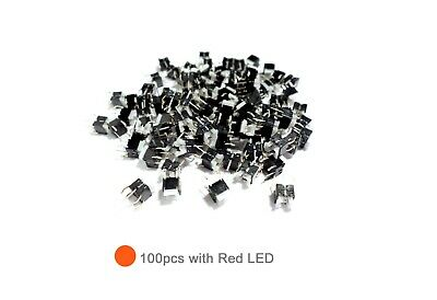 100pcs Tact Switch with Red and Green LEDs Illuminated Momentary Push Button