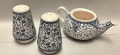 Turkish Pottery Creamer Salt Pepper Shakers Trad. Handicrafts Fettah Ceramic