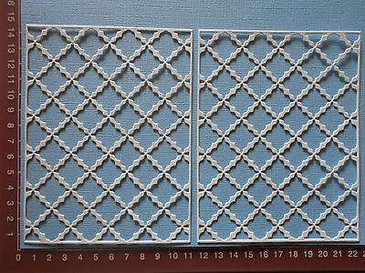 Die cuts - French Lattice Background, Card Topper, Mats, x 2 Embellishments
