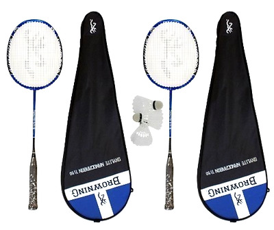 Badminton Rackets Set of 2 with 3 Shuttles Sporting Browning Oxylite Nano Ti 90