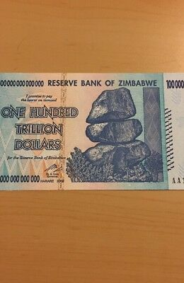 MAKE OFFER~1 Zimbabwe 100 Trillion Dollars($)AA 2008 UNC~LIMITED TIME~PRICE DROP