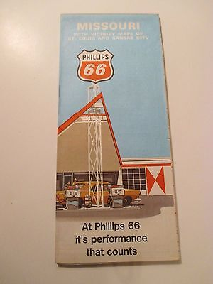 1970 PHILLIPS 66 MISSOURI Oil Gas Service Station Road Map