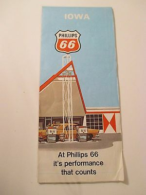 1970 PHILLIPS 66 IOWA Oil Gas Service Station Road Map