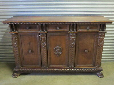 Antique Italian 18th C. Carved Wooden Sideboard Cabinet