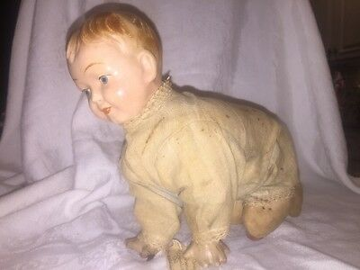 Antique German Mechanical Wind Up Crawling Doll VERY RARE