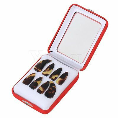8piece Professional Plastic Medium Size Gu Zheng Nails with Groove Brown&Yellow