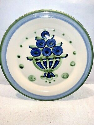 """Nice Signed M. A. Hadley Pottery Blue Fruit Serving Platter Charger  - 13-1/8"""""""