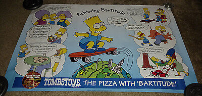 The Simpsons 1994 Tombstone Pizza Bart Simpson Achieving Bartitude Poster