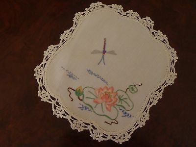 Vintage Hand Embroidered Doyley with Crochet Border Dragonfly Lotus Doily