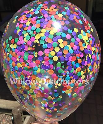 Clear Confetti Balloons Rainbow Unicorn Party Supplies Decorations Pack of 3