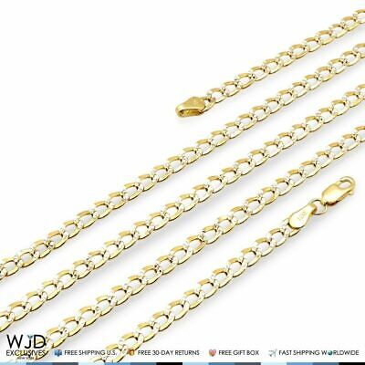 14K Real Yellow Gold Diamond Cut 4mm Cuban Curb Link Chain Necklace 24""