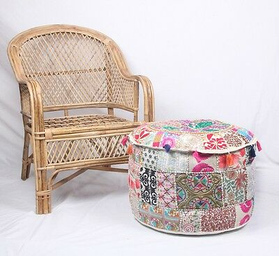 Patchwork Ottoman Indian Embroidered Indian Vintage Cotton Round Pouf Foot Stool