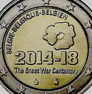 Belgium 2 Euro Coin 2014 Commemorative WWI great War 1914-1918 New Bunc F.Roll