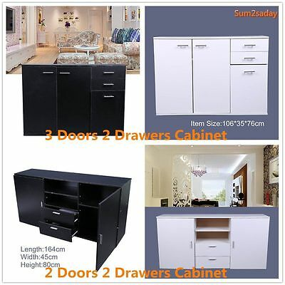 White Black Sideboard Cabinet Cupboard Chest 2 Drawers Storage Unit Buffet Wood