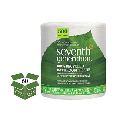 Seventh Generation 100% Recycled Bathroom Tissue, 2-Ply, White, 500...