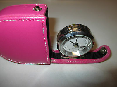New Pink Leather Travel Alarm Clock, stocking filler