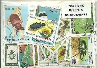 "Lot de 100 timbres thematique "" Insectes"""