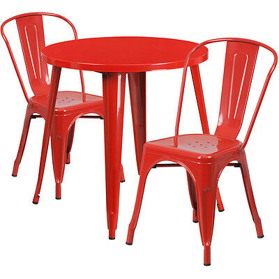 Flash Furniture 30'' Round Red Metal Indoor-Outdoor Table Set with 2 Cafe...
