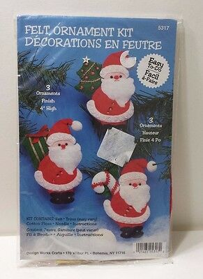 Felt Ornament Kit # 5317 Design Works Crafts Christmas Santa Set of 3