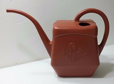 Vintage Watering Can Continental Made in Canada Rust Color Plastic Water Flowers