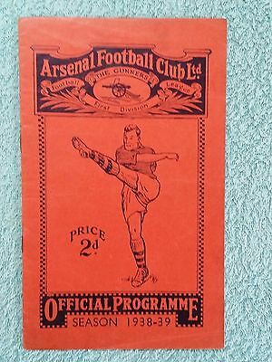 1939 - ARSENAL v BRENTFORD PROGRAMME - RESERVES - LONDON COMBINATION